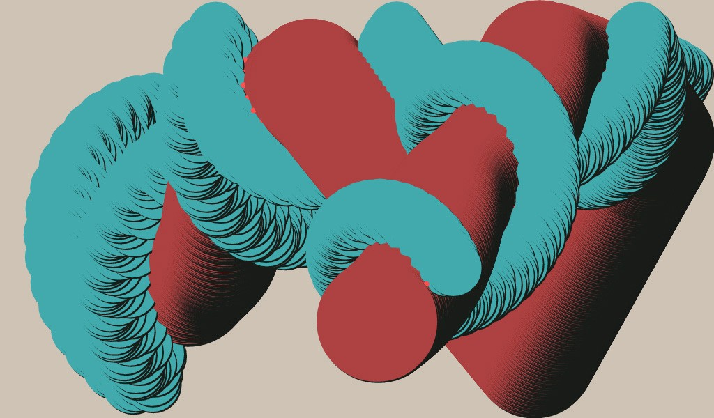 Blue and Red Pipes in Love, by Juan Irache