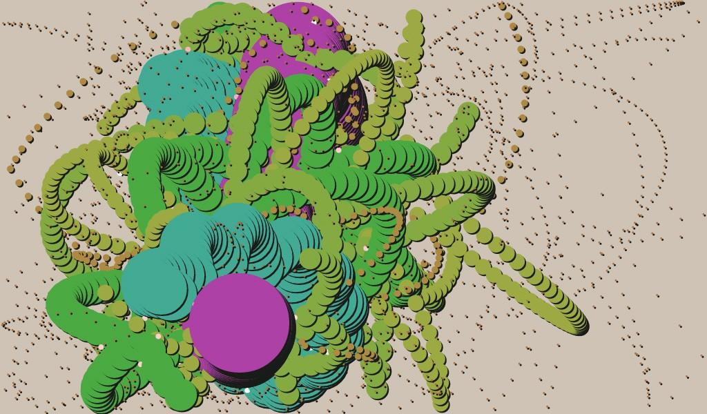 Purple Ball and Green Mess, by Juan Irache